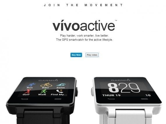 The landing page for vivoactive is clearer. Both the text and graphics convey that this is a smartwatch that tracks activity. However, the focus is still on the sale before the user understands the product.