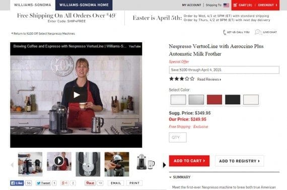 Williams-Sonoma includes product videos on many of its product detail pages.