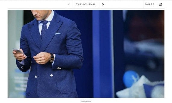 The Journal on the Mr. Porter website, uses compelling photography to enhance its content marketing.
