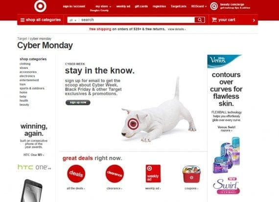 Target keeps its Cyber Monday page up year around.