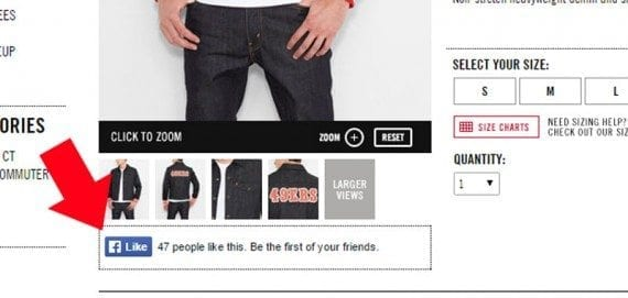 Levi's shows shoppers how many times a product has been liked on Facebook.