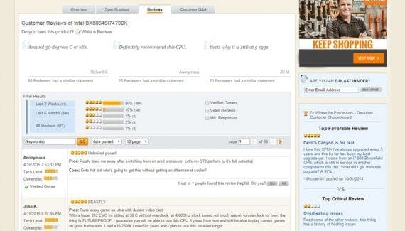 Newegg uses ratings and reviews to give shoppers good information about products and help make sales.
