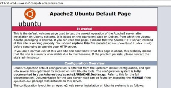 That Apache2 default page is your best indication that your web server is up and running.