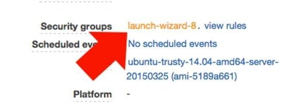 Locate the security group link on the lower portion of the EC2 instances page.