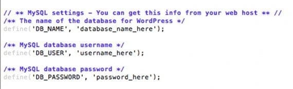 WordPress makes it easy to find the sections in the wp-config.php file that you will need to update.