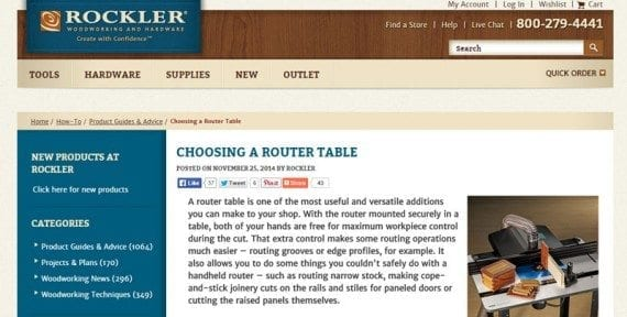 Rockler has more than 1,500 how-to articles on its site.