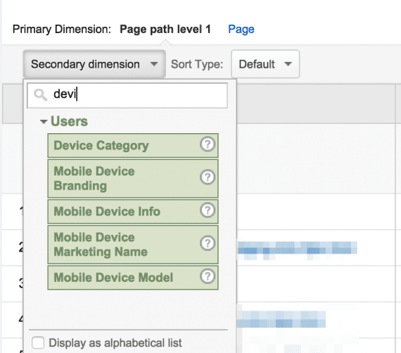 "To find poor-performing  pages from mobile traffic, add a secondary dimension: ""Device Category."""