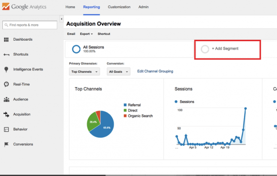 See how traffic interacts with your site by creating an advanced segment.
