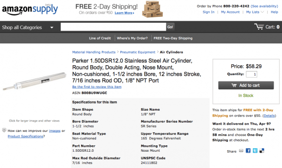 Amazon Supply offers free two-day shipping on orders above $50 and detailed specifications.