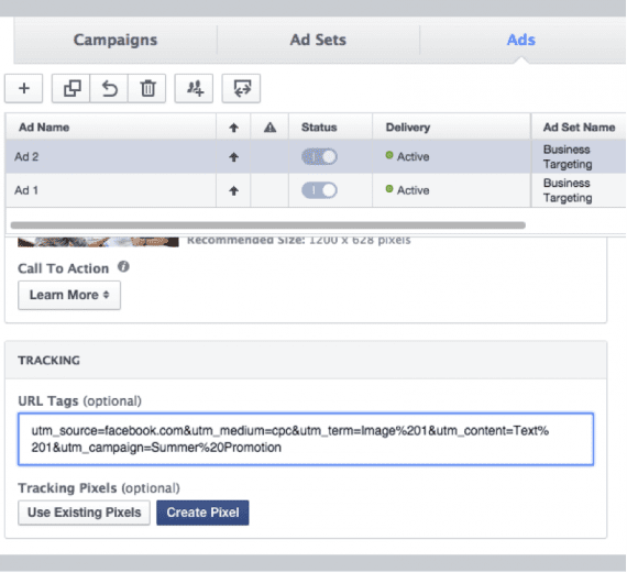 In Facebook, add the domain and then add the UTM codes after you create your ads.