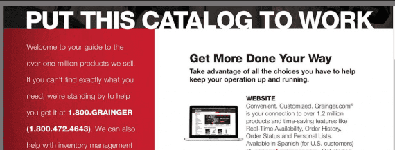 Grainger was one of the first B2B catalog companies to move online.