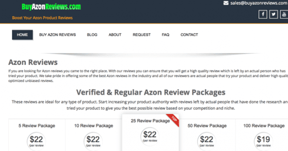 Buy Azon Reviews sells merchants positive reviews.