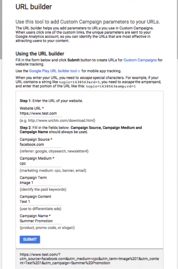 The Google URL builder is for one-off links and small campaigns.