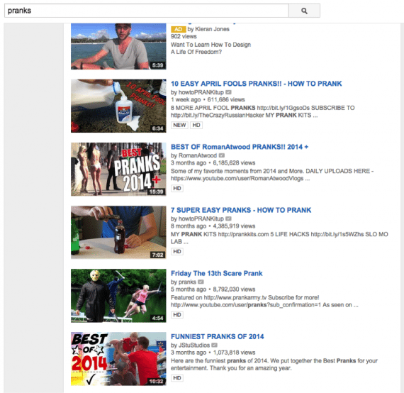 Thumbnails with larger text stand out in YouTube's search results.