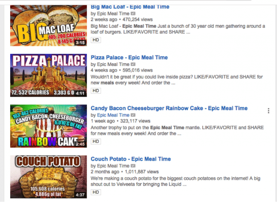 Compelling thumbnails on YouTube.