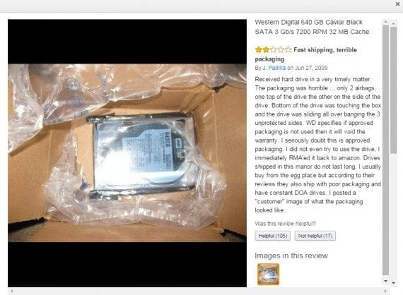 "One of several reviews for a computer hard drive point out the lack of proper packaging. Amazon's ""Helpful / Not Helpful"" feature indicates that many shoppers may have avoided this product."