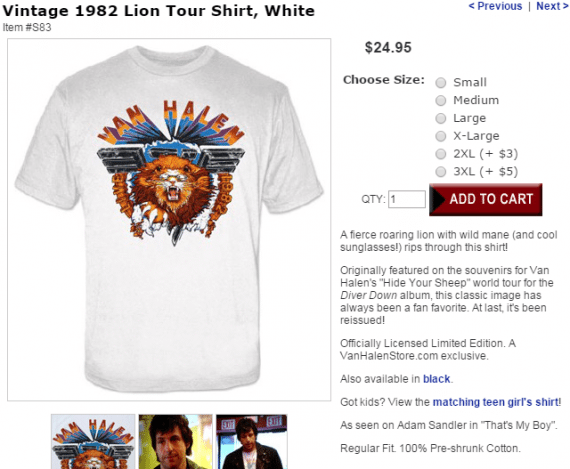 In this example, the shopper sees that a 2XL shirt is $3 more, and a 3XL size is $5 more. Source: Van Halen Store.