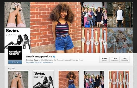 American Apparel has more than 1.3 million followers on Instagram.