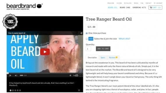 Beardbrand features how-to videos on many of its product detail pages.