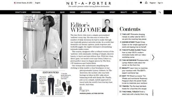 The Edit is Net-A-Porter's weekly, online magazine. Small merchants seeking to emulate Net-A-Porter might do so with a simple blog.