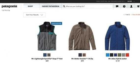 Patagonia sells products aimed at outdoor lifestyles.