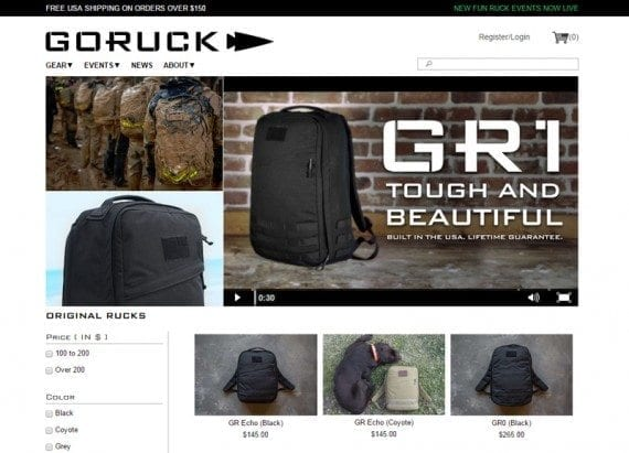 Goruck places large videos front and center on product category and detail pages.