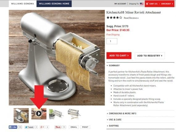 Williams-Sonoma places a video link just below the main product image, when clicked the link opens the video in place of the main image.