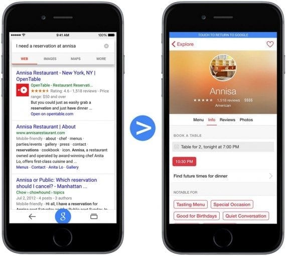 A Google search result on an iPhone for a restaurant prompts users to open the restaurant page on Open Table's app. Source: Google Developers Blog