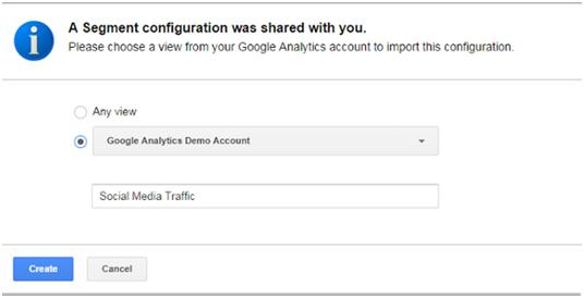 Clicking the Import button leads to a screen to confirm that you want to import the segment to your Google Analytics profile.