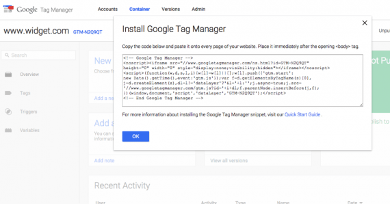 "Add the Google Tag Manager code to every page on your site, right after the start of the ""body"" section."