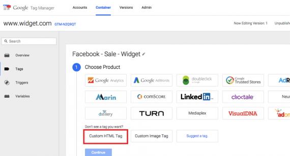 "Click on ""Custom HTML Tag."""