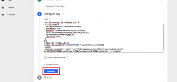 """Paste the Facebook pixel code here and click """"Continue."""""""