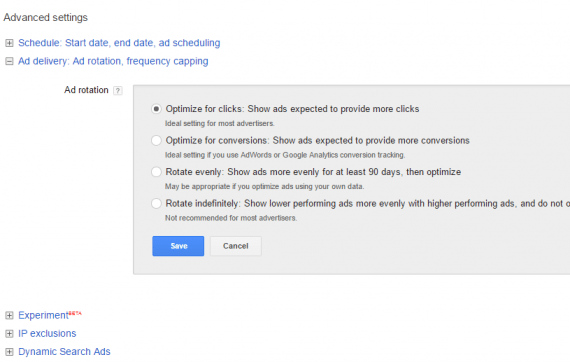 "In the ""Advanced settings"" section, note ""Ad delivery."" You have four options."