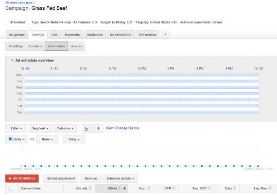 "Under ""Ad schedule,"" you can instruct Google what times of day you want to show your ads."