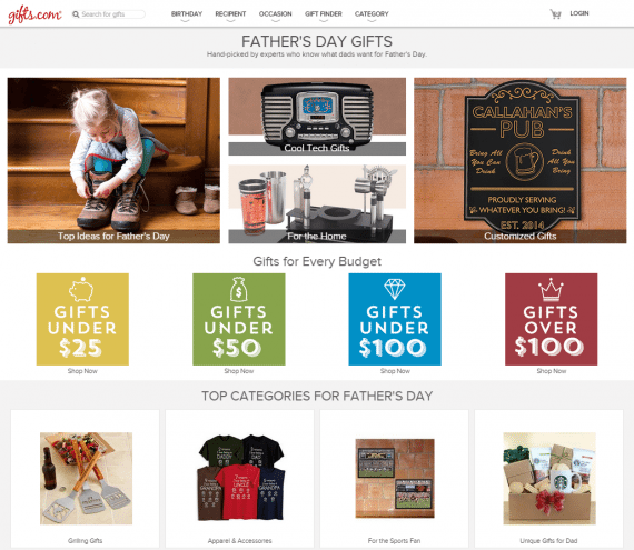 Gifts.com sports a Father's Day landing page that is eye catching and easy to navigate. Note how it provides many ways to find a gift.