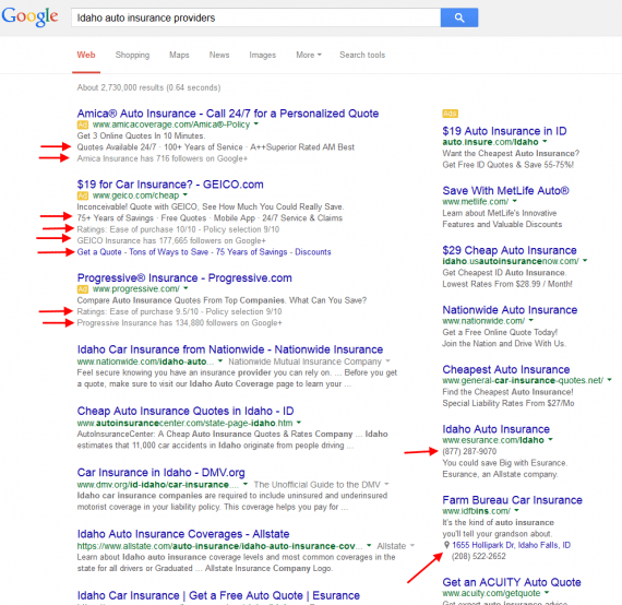 "Search result page from Google for ""Idaho auto insurance providers."""