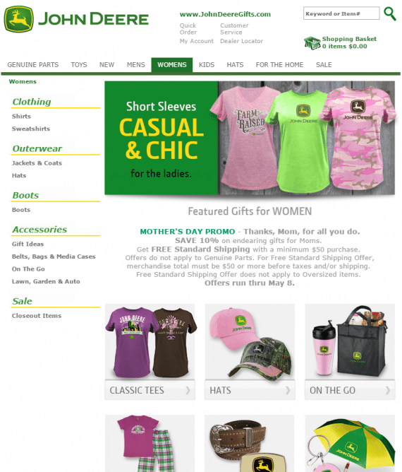 John Deere showcases tees, a promo, and a selection of all things John Deere for women. While not the most ideal layout, this page calls attention to a nice range of products.