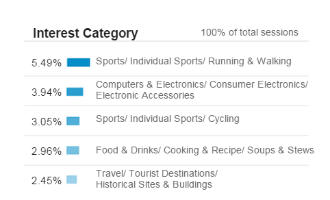 Example interest report for determining who is shopping the online store. Source: Google