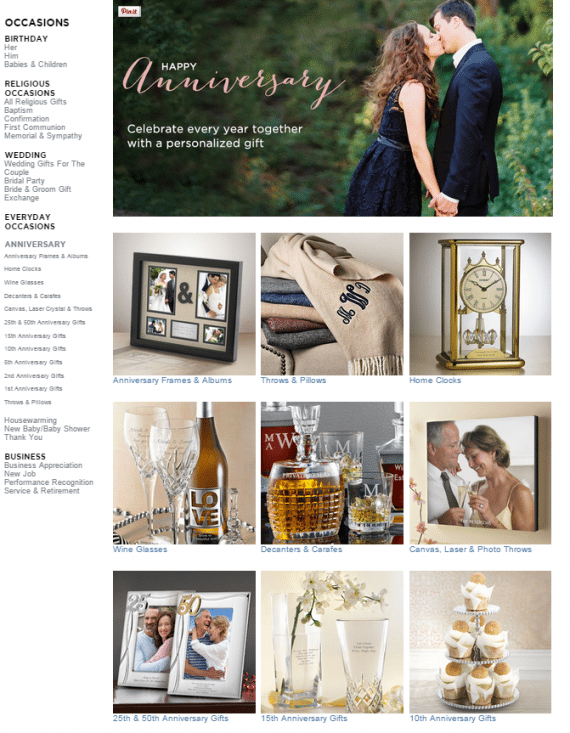 Grouping gifts by type and milestone simplifies the process, as shown here byThingsRemembered.com.