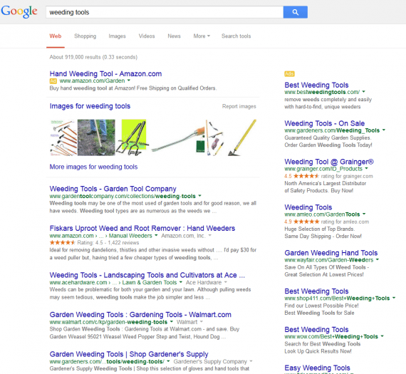 "An actual screenshot of Google search results for ""weeding tools."""