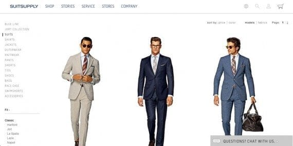 Suitsupply, which runs on Demandware, is an example of a great looking and functioning ecommerce website.