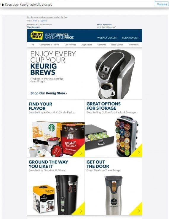 Best Buy sent an email based on customer data.