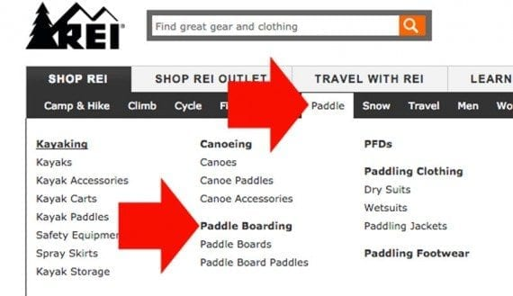 REI makes top level labels and dropdown menu heads active links.