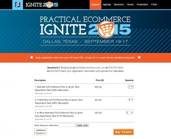 Registering for the Ignite 2015 ecommerce conference in September is an example of ecommerce in action.