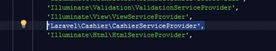 Registering the service provider only requires one line of code.