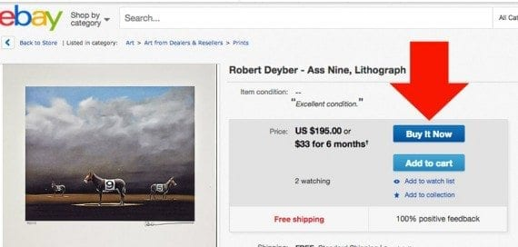 Some eBay product pages may have two call to action buttons, but even these are well placed on the page.
