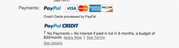 The product pages on eBay include clear payment option information.