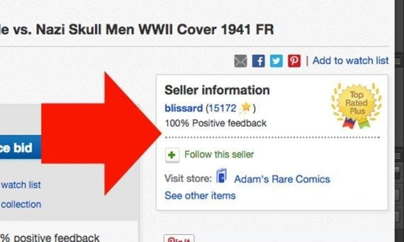 The seller information shown on eBay product pages may help boost trust.