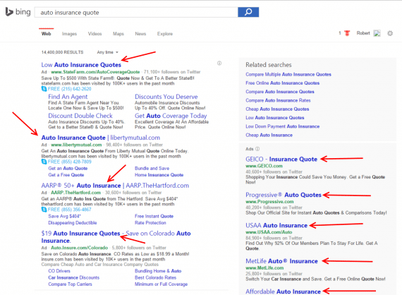 """Using a keyword or a variation of it in the ad copy, preferably in the title, means that the keyword will get bolded in your ad, which helps the ad to stand out — such as """"auto insurance quote"""" on this Bing Ads sample."""
