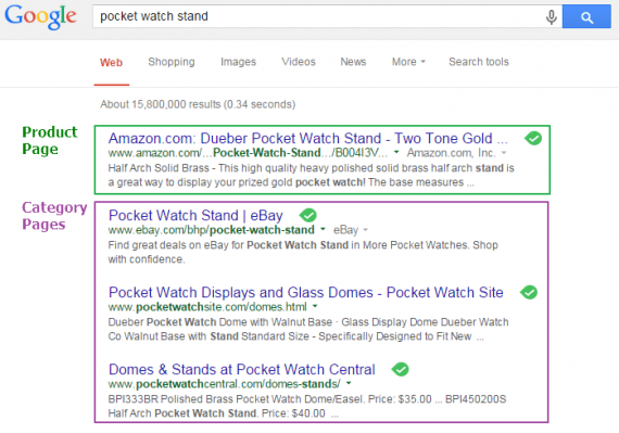 "Google organic search results for ""pocket watch stand."""